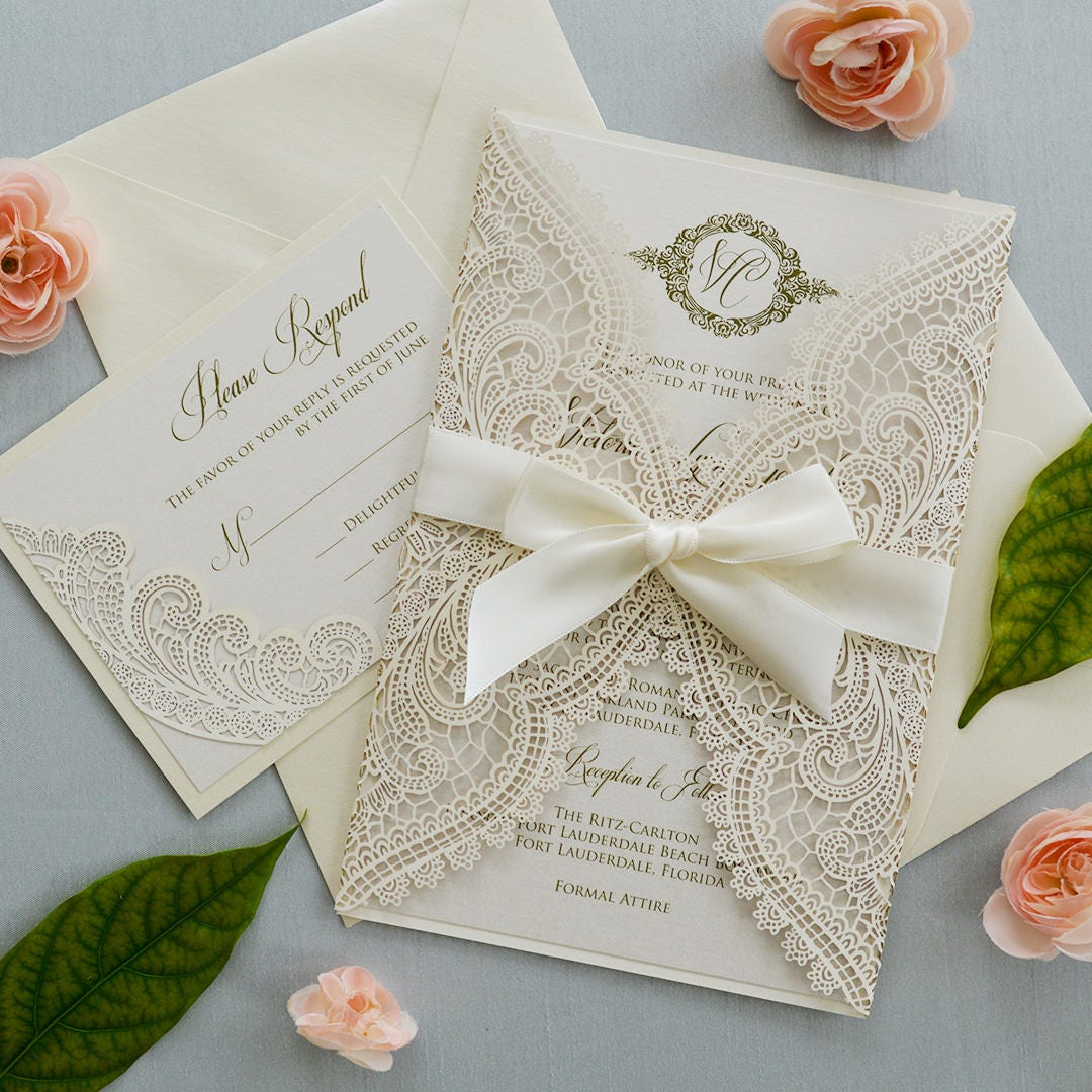IVORY CHANTILLY LACE Laser Cut Wrap Invitation - Ivory Laser Cut ...