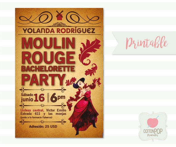 Moulin Rouge Bachelorette party invitacin para despedida de