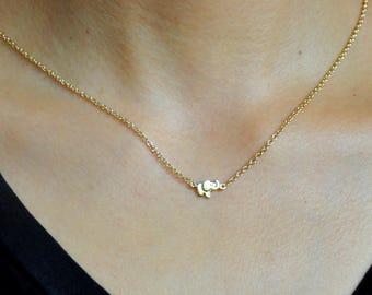 Gold elephant necklace etsy elephant necklace aloadofball Choice Image
