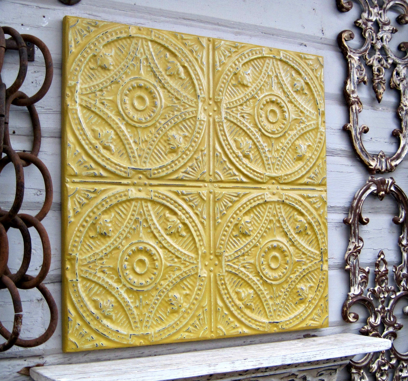 Tin Ceiling Tile Oklahoma architectural salvage Gold Mustard