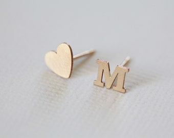 initial earrings, heart earrings, dainty earrings, personalized jewelry, minimalist earrings - gold filled