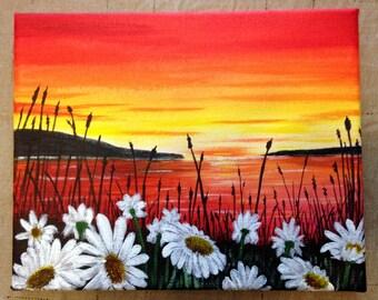 Daisy Sunset 8x10 original art, acrylic paints, on canvas