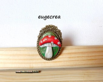 Small mushroom polymer clay and bronze metal clay ring