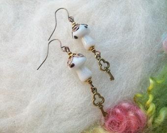 Mushroom Earrings White Magic Mushroom Enchanting Woodland Toadstool Beaded Earrings Handmade Beaded Earrings Tiny Skeleton Key Charm
