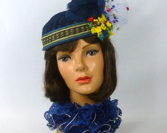 Blue Embroidered Felt Pillbox Hat - Vintage Multicolored Ribbon Band - Vintage Glass Flowers & Veiling - Feathers - wedding, luncheon, party