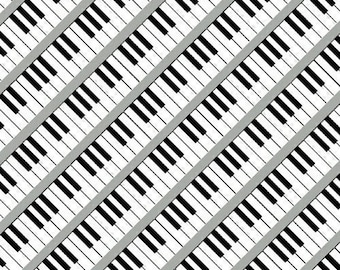 Piano Key Fabric, Piano Quilt Fabric, Windham Three Quarter Time 41061-4, Whistler Studios, Music Quilt Fabric, Piano Keyboard, Cotton