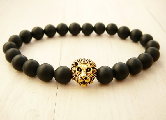 onyx and a hematite perfect monochromatic lion pin gemstone about blend spirit black of the mens bracelet