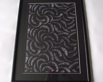 Framed Hand-cut Geometric Curve Papercut