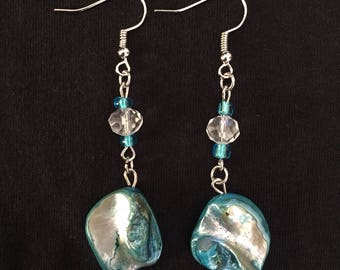 Blue Shell Beach Earrings