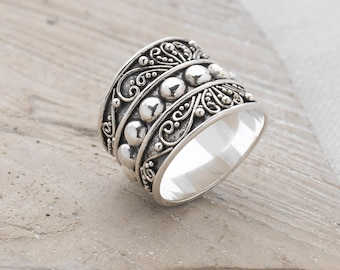 Handmade, Sterling Silver 925 Oxidised Statement Ring