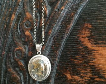 Sterling Silver Rutilated Quartz Pendant Necklace