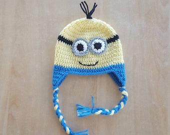 Crochet minion hat with ear flaps / Newborn hat / Newborn gift