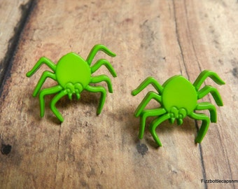 Lime Green Spider Post Earrings With Nickel Free Backs