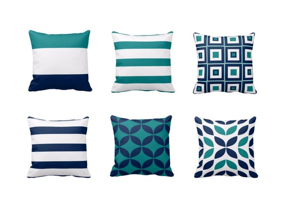 Throw Pillow Covers Teal Pillow Covers Navy Pillow Covers Home