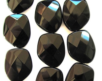 14 Faceted Polished Black Glass Fashion Beads