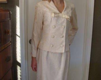 1965 Authentic Vintage Viva Las Vegas Wedding Dress Suit Cream Jacquard S 2 PC Original Owner Mod Double Breast Jacket Pencil Skirt