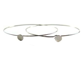 Rhodium Plated Dainty Circle Engraving / Glue Wire Bracelet (2x) (K416-B)