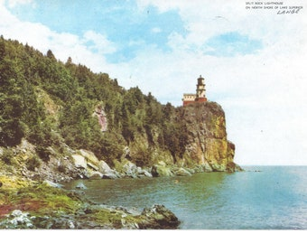 1950s GIANT Postcard of Split Rock Lighthouse, North Shore of Lake Superior, Unposted, 10 x 7 Inches, Suitable for Framing, Vintage Souvenir