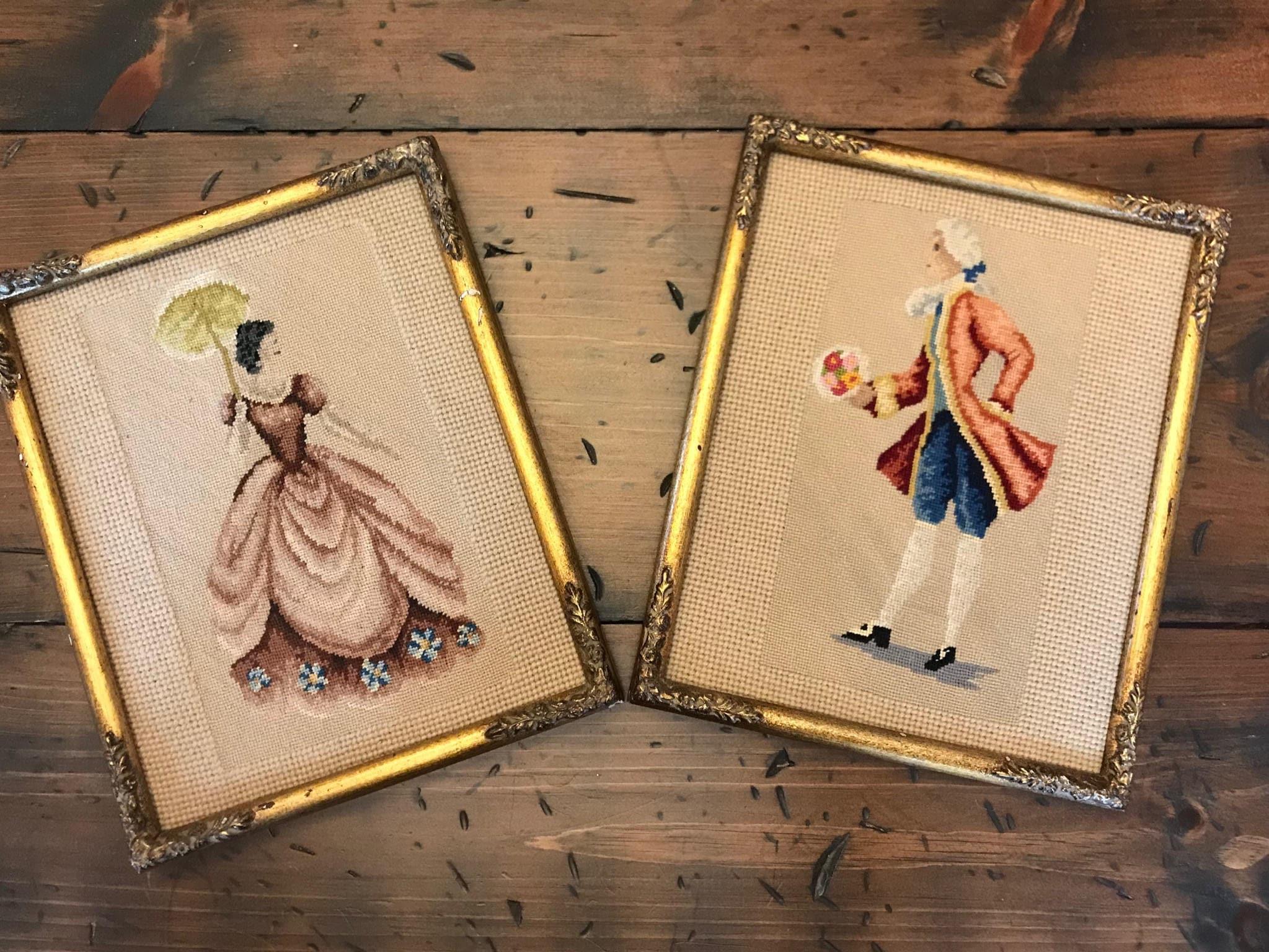 Vintage Needlepoint, 18th Century Couple, Cross Stitch, Tapestry ...