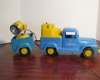 Vintage Mobile 7 Searchlight Thomas Mfg Corp Plastic Truck and Trailer With Its Original Box