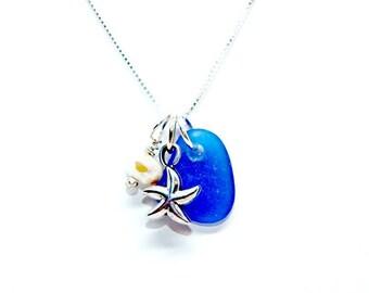 Cobalt Blue Sea Glass Necklace, Sea Glass Gift, Sea Glass Jewelry, Lake Erie Beach Glass, Beach Gift For Mom, Starfish Necklace, Sea Glass
