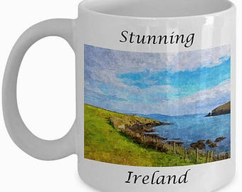 Pretty Ireland Gift, Dingle Peninsula, Ireland Mug, Irish Print, Ireland Souvenirs, Irish Gift, Kitchen Decor, Farmhouse Decor,White Ceramic