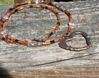 Copper colored heart pendant necklace set,seed bead and crystal necklace set,jewelry set