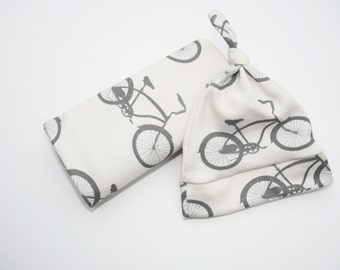 Bike Baby Blanket and Bike Hat - Organic Cotton Cruiser Bike Baby Gift Set in Gray and White.  Bicycle Theme Baby