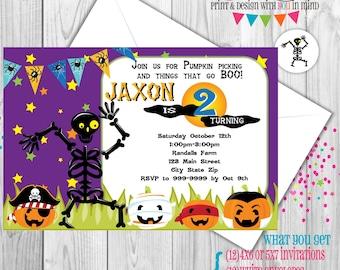Mr. Bones Skeleton Halloween party invitations set of 12