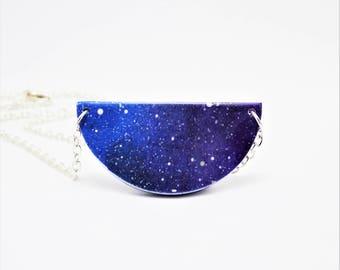 Galaxy Necklace, Galaxy Jewellery, Half Moon Necklace, Space Jewellery, Star Space Necklace, Night sky Necklace, The Galaxy Collection