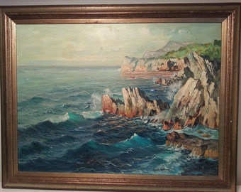 Vintage Capri Seascape Oil Painting by Guido Odierna, Vintage Italian Seascape Painting