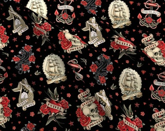 Traditional Tattoo Fabric - Old School Tattoo Black By Crixtina - Old School Skull Rockabilly Cotton Fabric By The Yard With Spoonflower