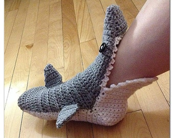 MADE TO ORDER, Crochet Shark Slipper booties/ socks, Adult Men/Women's sizing, choose your color
