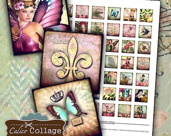 Fairy Forest Digital Collage Sheet 1x1 Inch Size Printable Images for Pendants Square Bezels Magnets Decoupage Paper Calico Collage Art