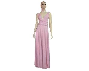 Convertible Bridesmaid Dress Baby Pink Maxi Wrap Infinity Dress XS-5XL