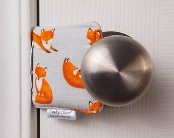 The Original Cushy Closer Door Cushion - Foxes on Gray - Door Latch Cover
