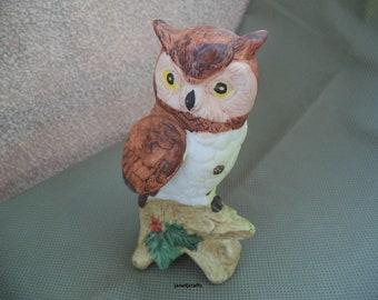 Owl figurine, Owl knick knack , Brown and white Owl, Owl statue , Housewarming gift , Ceramic figurine