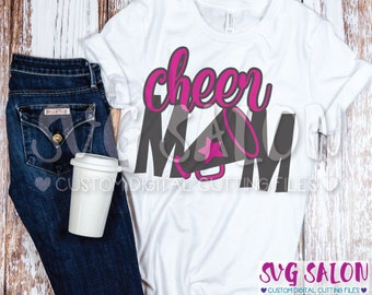 Cheer Mom Megaphone Cheerleading Cheerleader Mother Cut File svg eps dxf jpeg png Cricut Design Space Silhouette Studio Cameo Sublimation