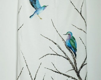 Hand-painted 100% linen skirt with birds US 6, UK 10, EUR 38