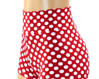 Red & White Polka Dot Print High Waist Pinup Shorts Minnie 151277
