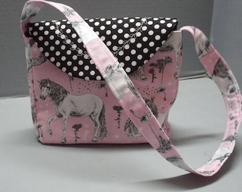 Toddlers Purse, Girls Purse, Girls Shoulder Bag - Sketched Unicorns Fabric