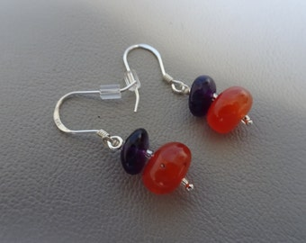 SALE!! 20% OFF!!!  Sterling Silver earrings with gemstone Carnelian and Amethyst dangling earrings gift for girl woman
