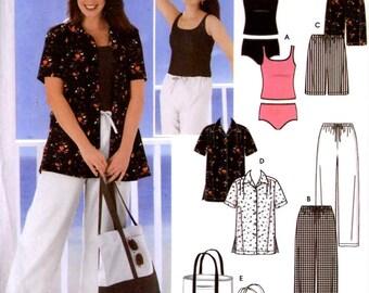 Plus Size tankini shorts shirt bag pants sewing pattern Simplicity 5571 Sz 26W to 32W Uncut