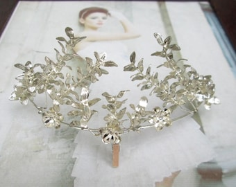 Vintage silver plated Myrtle Crown, Myrtle wedding Crown, Bridal tiara, silver plated, antique bridal Crown 1940-11
