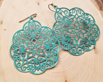 Turquoise Earrings. Filigree Earrings. Patina. Verdigris. Filigree. Statement Earrings. Vintage Inspired. Statement Jewelry. Bohemian. Boho