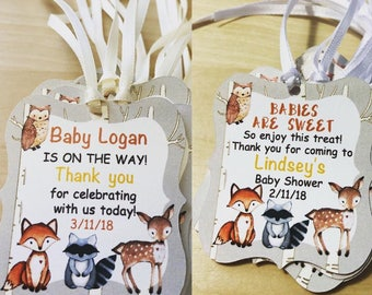 Woodland Baby Shower Favor Tags, Woodland Birthday Thank You Tags,Forest Animals Favor Tags,Woodland Favor Tags,Woodland Style Tags