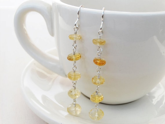 Citrine & Silver Long Drop Earrings - Sterling Silver