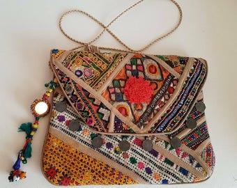 Banjara boho clutch, evening purse,Golden sling,Ethnic hand purse, vintage coin mirror yoke,pompom Pochette, tassels,tab cover,Oversize