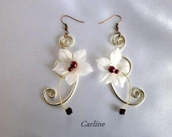 Earrings wedding wire aluminum, Swarovski Crystal bordeaux pearls ivory Noelie silk flowers.