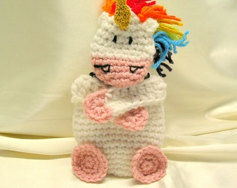 Crochet Unicorn Gift Card Holder ~ Amigurumi Unicorn Crochet Mini Pouch ~ Rainbow Unicorn Birthday Gift Card ~ Unicorn Gift
